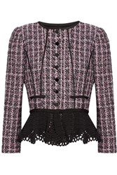 Oscar De La Renta Crochet Trimmed Sequin Embellished Tweed Peplum Jacket Pink