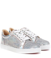 Christian Louboutin Vieira Sequined Sneakers Silver