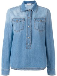 Red Valentino Boxy Fitting Collared Shirt Blue