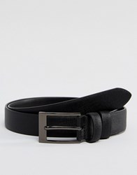 Smith And Canova Leather Skinny Belt In Black Saffiano Black