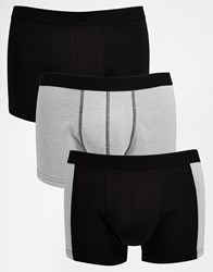 Asos Trunks 3 Pack With Rib Fabric Panels Black