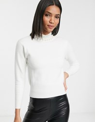 River Island Sweater With Faux Pearl Collar In Cream