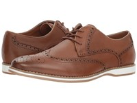 Kenneth Cole Reaction Weiser Lace Up Cognac Leather Lace Up Cap Toe Shoes Brown