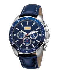 Just Cavalli 44Mm Men's Sport Chrono Watch W Calf Leather Strap Blue