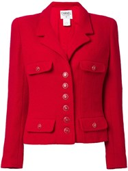 Chanel Vintage Cropped Cc Button Jacket Red