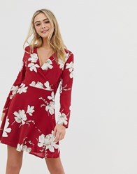 Parisian Floral Wrap Dress Red