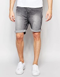 New Look Denim Shorts In Grey Grey