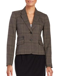 Calvin Klein Plaid Two Button Blazer Otter