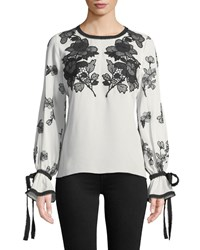 Andrew Gn Round Neck Long Sleeve Silk Blouse W Lace And Embroidery White Black