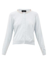 Simone Rocha Faux Pearl Embellished Wool Blend Cardigan Blue Multi