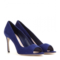 Miu Miu Suede Open Toe Pumps Navy