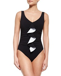 Karla Colletto Silent Underwire One Piece Swimsuit With Front Ruffle Black White