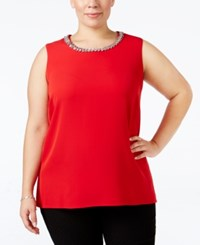 Calvin Klein Plus Size Embellished Shell Rouge