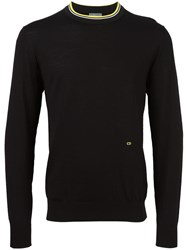Christian Dior Homme Contrast Neck Jumper Black
