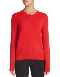 Lord And Taylor Plus Crewneck Cashmere Cardigan Bright Red
