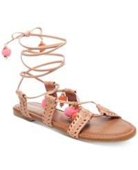 Madden Girl Bailee Lace Up Pom Pom Sandals Women's Shoes Natural
