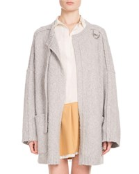 Chloe Long Sleeve Open Front Oversized Wool Cashmere Cardigan Light Gray