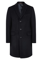 Oscar Jacobson Savile Row Navy Wool And Cashmere Blend Coat