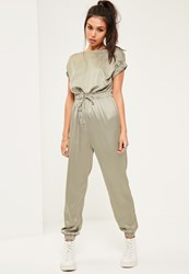Missguided Green Silky Slouch Wide Sleeve Jumpsuit