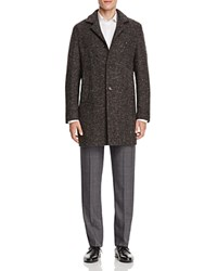 Eidos Tweed Herringbone Car Coat Dark Brown