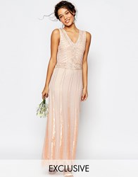 Maya Vintage Embellished Maxi Dress Nude Angel Wing Pink