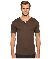 The Kooples Cotton And Leather T Shirt Khaki