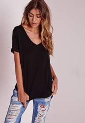 Missguided Petite Boyfriend V Neck T Shirt Black Black
