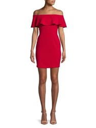Design Lab Lord And Taylor Ruffled Bodycon Mini Dress Red