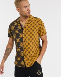 Sik Silk Siksilk Co Ord Revere Collar Shirt In Half And Half Monogram Print Brown