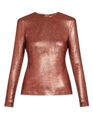 Zimmermann Karmic Metallic Silk Blend Top Red