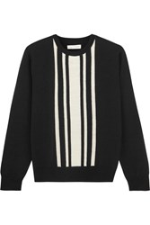 Chinti And Parker Striped Intarsia Merino Wool Sweater Black