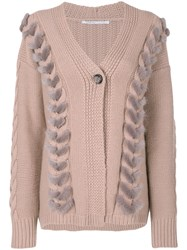 Agnona Cable Knit Detail Cardigan Women Mink Fur Cashmere Wool L Pink Purple