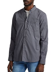 French Connection Long Sleeve Print Shirt Blue