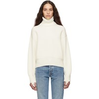 Helmut Lang Off White Wool And Cotton Turtleneck