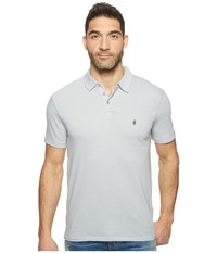 John Varvatos Striped Soft Collar Peace Polo With Peace Sign Chest Embroidery K1381t1b Steel Blue Men's Clothing