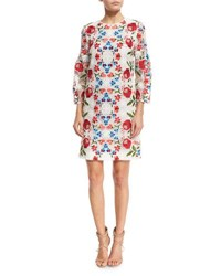 Burberry Embroidered Lace 3 4 Sleeve Shift Dress Natural White