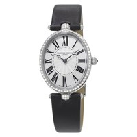 Frederique Constant Fc 200Mpw2vd6 Women's Classics Art Deco Diamond Oval Leather Strap Watch Black Silver