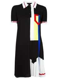 Versace Pleated Ribbon Polo Dress Black