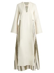 Zeus Dione Khloris Long Sleeved Silk Maxi Dress Ivory