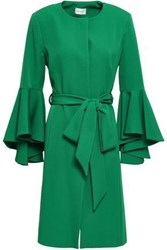 Milly Woman Belted Fluted Cady Coat Emerald