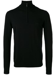Hugo Boss Zip Up Sweater Men Cotton Virgin Wool Xl Black