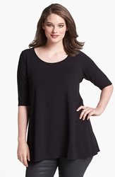Eileen Fisher Scoop Neck Jersey Tunic Plus Size Black