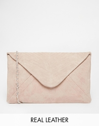 Maison Scotch Leather Clutch With Detachable Chain Strap Pink