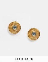 Mirabelle Gold Plated Disk Stud Earrings With Apatite Gold