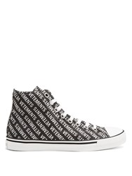 Vetements Logo Print High Top Canvas Trainers Black White
