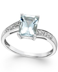Macy's Aquamarine 1 1 5 Ct. T.W. And Diamond Accent Ring 14K White Gold Blue