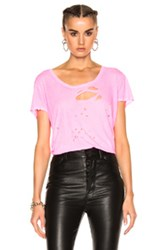 Unravel Distressed Jersey Basic Tee In Pink