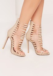 Missguided Nude Perspex Panelled Strappy Gladiator Heel