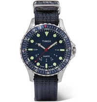 Timex Navi Depth Stainless Steel And Nylon Webbing Watch Blue