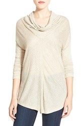 Petite Women's Halogen Mitered Rib Knit Cowl Neck Top Heather Oatmeal